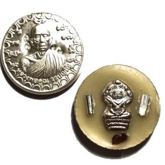 See Pheung Maha Lap Maha Mongkol 2561 BE - LP Koon Wat Ballangk Dtalab Kroo Solid Silver Pra Nakprok 2 Silver Takrut & Ploi Sek maha Pokasap Gemstone Fragments