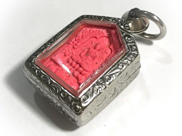 Front Face Khun Phaen Pim Lek amulet in Nuea Chompoo Wat Lahan Rai 2 Takrut Tong Daeng
