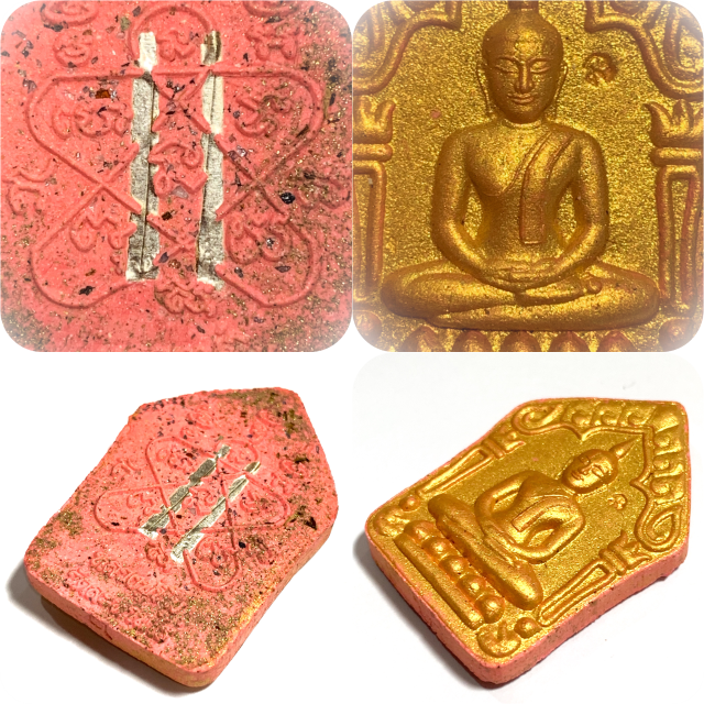 Khun Phaen Plai Kuman La Sankharn Edition 2558 BE Pink Powders 2 Silver Takrut Sariga in rear Face, Blessed on the 40th Anniversary of Luang Phu Tim's Passing Away at the Temple of Wat Lahan Rai - this item comes with silver plated casing included